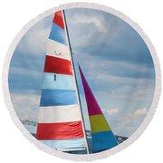 Round Beach Towel featuring the photograph Sail Newport by Robin-Lee Vieira