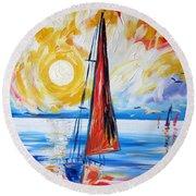 Sail Sail More Round Beach Towel