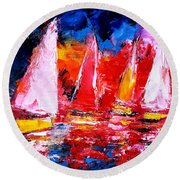 Sail To The Sunset Round Beach Towel