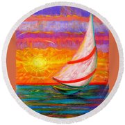 Sailaway Round Beach Towel