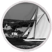 sailboat - a one mast classical vessel sailing in one of the most beautiful harbours Port Mahon Round Beach Towel