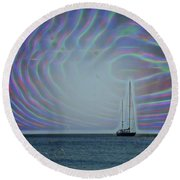 Sailboat And Bubbles Round Beach Towel