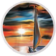 Sailboat And Sunset Round Beach Towel