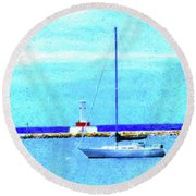 Sailboat At Rest Round Beach Towel by Desiree Paquette