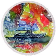 Sailboat At Sunset II Round Beach Towel by Kovacs Anna Brigitta
