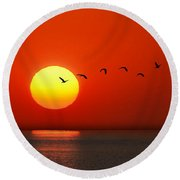 Sailboat At Sunset Round Beach Towel by Joe Bonita