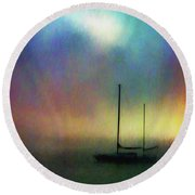 Sailboat At Sunset Round Beach Towel by John A Rodriguez
