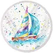 Sailboat By Jan Marvin Round Beach Towel