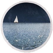 Round Beach Towel featuring the photograph Sailboat by Chevy Fleet