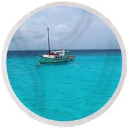 Sailboat Drifting In The Caribbean Azure Sea Round Beach Towel