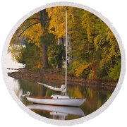 Sailboat In Alburg Vermont  Round Beach Towel