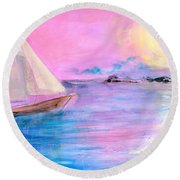 Sailboat In Pink Moonlight  Round Beach Towel