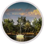 Sailboat In The Bay Round Beach Towel