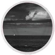 Sailboat Into A Storm Round Beach Towel