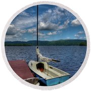 Sailboat On First Lake Round Beach Towel