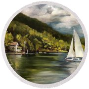 Sailboat On Lake Morey Round Beach Towel