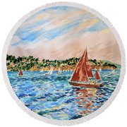 Sailboat On The Bay Round Beach Towel