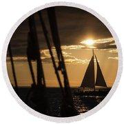 Sailboat On The Horizon Round Beach Towel