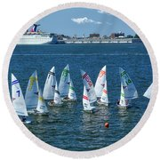 Round Beach Towel featuring the photograph Sailboat Races by Kathy Baccari