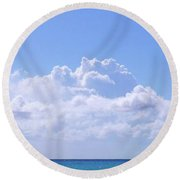 Round Beach Towel featuring the photograph Sailboat Sea And Sky M5 by Francesca Mackenney