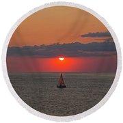 Sailboat Sunset Round Beach Towel