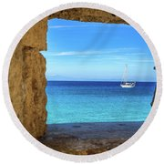 Sailboat Through The Old Stone Walls Of Rhodes, Greece Round Beach Towel