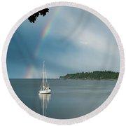 Sailboat Under The Rainbow Round Beach Towel