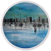 Sailboats And Cityscape Round Beach Towel