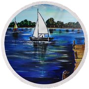 Sailboats And Pier Round Beach Towel
