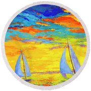 Sailboats At Sunset, Colorful Landscape, Impressionistic Art Round Beach Towel
