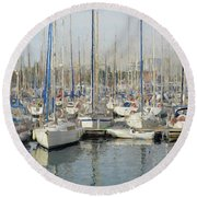 Sailboats At The Dock - Painting Round Beach Towel