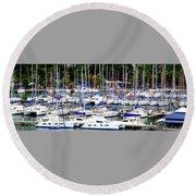 Sailboats Round Beach Towel