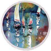 Round Beach Towel featuring the painting Sailboats II by Kovacs Anna Brigitta