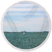 Sailboats In Summer Round Beach Towel