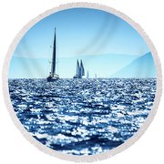 Sailboats In The Sea Round Beach Towel