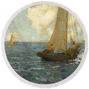 Sailboats On Calm Seas Round Beach Towel