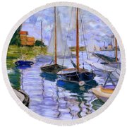 Sailboats On The Seine At Petit Gennevilliers Claude Monet 1874 Round Beach Towel