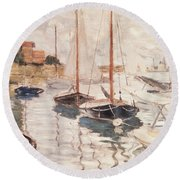 Sailboats On The Seine Round Beach Towel