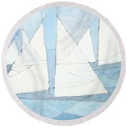 Sailboats On Water  Round Beach Towel