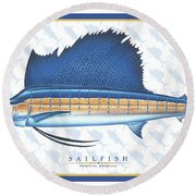 Sailfish Id Round Beach Towel