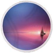 Sailing Across The Lake Toward The Sunset Round Beach Towel