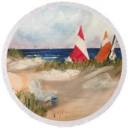 Sailing Along Round Beach Towel