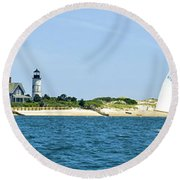 Sailing Around Barnstable Harbor Round Beach Towel by Charles Harden