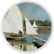 Sailing At Argenteuil Round Beach Towel