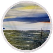 Round Beach Towel featuring the painting Sailing At Dusk by Marilyn  McNish