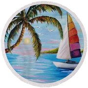 Sailing At Sunset Round Beach Towel