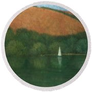 Sailing At Trelissick Round Beach Towel