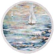 Sailing Away 2 Round Beach Towel