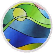Sailing Away, Canvas Three Round Beach Towel by Sally Trace