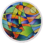 Sailing Away, Canvas Two Round Beach Towel by Sally Trace